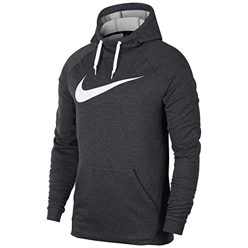 NIKE Mens Dry Pullover Swoosh Hoodie, Charcoal Heather/White, Small