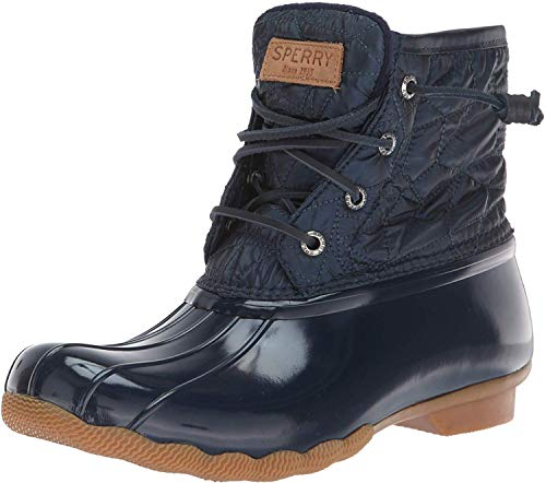 SPERRY Women's Saltwater Nylon Quilt Rain Boot, Navy, 6 M US