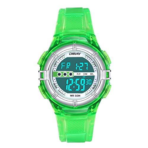 Digital Watches for Kids Boys Watch Girls Watch 50M Waterproof Sports Watches Digital Watch with Alarm/Stopwatch, Date & Week and Calendar Night Light Outdoor Watches (Jelly Green) ()