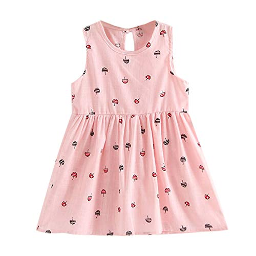 Toddler Girl Summer Princess Dress Kids Baby Party Wedding Sleeveless Dresses Vestido Infantil Pink 6