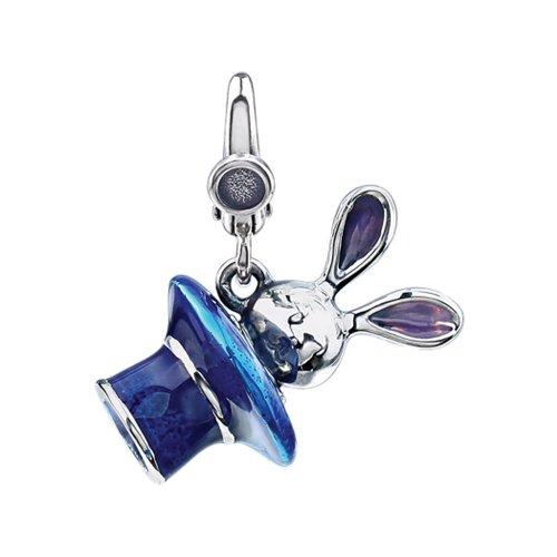 3-D Bunny in Blue Enamel Magician Hat Clip-On Charm in Sterling Silver
