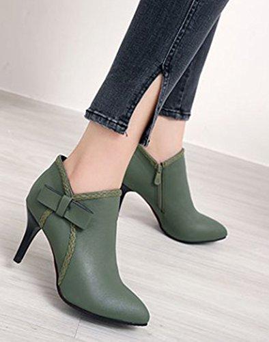Aisun Style Mignon Noeud Vert Bottines Courte Tige Femme p4xrp