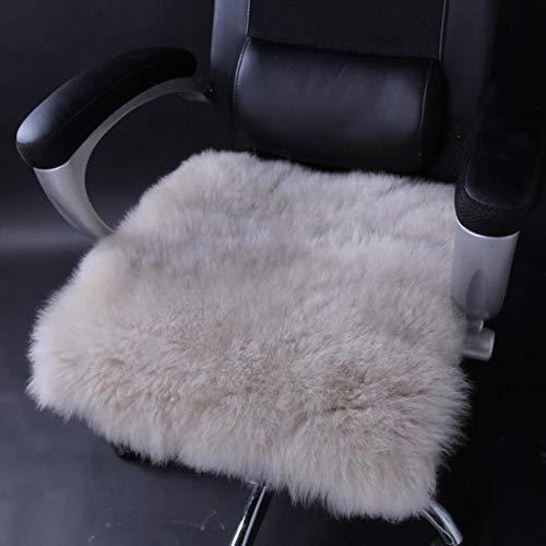 - Genuine Sheepskin Long Wool Chair Cushion Round Soft Plush Seat Cushion for Home car Office-C 55x55cm(22x22inch)
