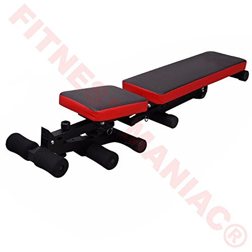 Fitness Bench Weight Lifting Gym Home Workout Bench Utility Bench Flat Red And Black