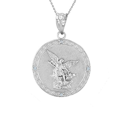 Gemstone Medallion Style Pendant - Sterling Silver Saint Michael The Archangel CZ Round Medal Necklace (1