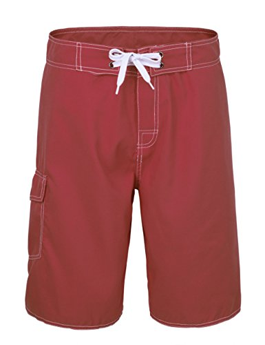NONWE Men's Solid Lightweight Beach Swim Shorts with Lining Red 36