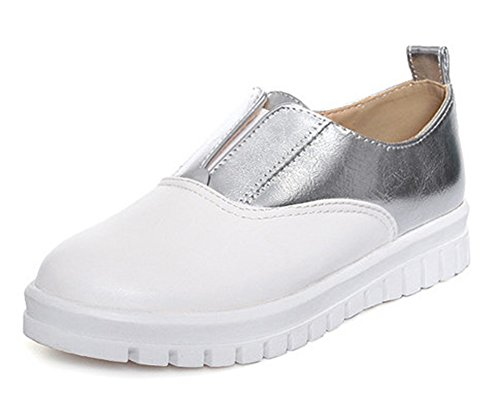 Easemax Womens Chic Round Toe Slip On Sneakers Silver htH4yNVk