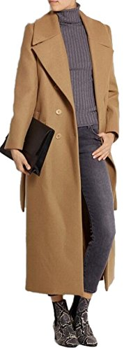 (AZIZY Women's Camel Lapel Double Breasted Full-Length Slim Trench Wool Coat with Belt S)
