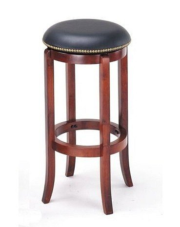 Cool New Cherry Finish Wood Bar Stool With Black Vinyl Swivel Seat And Brass Pin Trim Squirreltailoven Fun Painted Chair Ideas Images Squirreltailovenorg