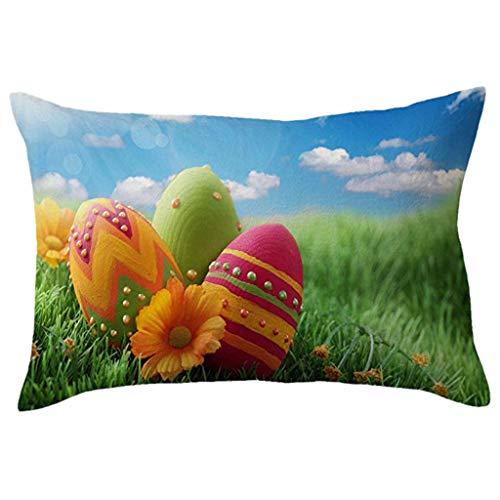 ALLYOUNG Cotton Linen Square Home Decorative Throw Pillow Case Sofa Waist Cushion -