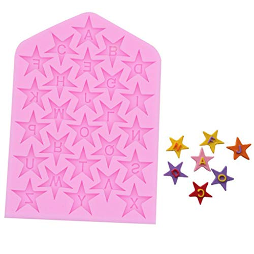 Juesi Letter & Stars Mold Silicone Fondant Mold Chocolate Mold for Decorating Cakes, Chocolate, Candy, Baking Tool (Pink) ()