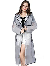 OVOV Women's Transparent Frosted Women Ladies Rainwear Hooded Long Raincoat