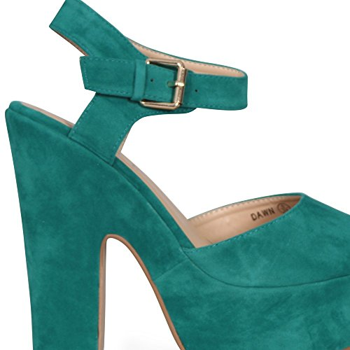 PEEP STRAP CHUNKY PLATFORM NEW Suede ANKLE SANDALS Green TOE SHOES HIGH COLLECTION HEEL WOMENS LADIES CORE cZwPf8WnUc