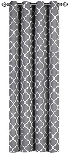 Utopia Bedding Blackout Room Darkening Curtains Window Panel Drapes - 1 Panel - 52 Inches Wide by 84 Inches Long - 8 Grommets/Rings per Panel - 1 Tie Back Included - Grey/White