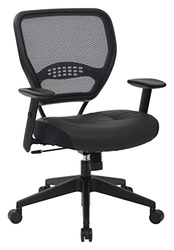 SPACE Seating Professional AirGrid Dark Back and Padded Black Eco Leather Seat, 2-to-1 Synchro Tilt Control, Adjustable Arms and Tilt Tension with Nylon Base Managers Chair (Nylon Spaces compare prices)