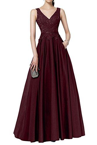 La Spitze Jaeger Brautmutterkleider V Abendkleider Partykleider Gruen Ausschnitt Braut Ballkleider Marie Weinrot Lang raSqZr
