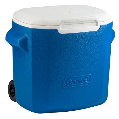 Coleman Wheeled Cooler, Blue/White, 28 - Quart 28 Coleman Cooler