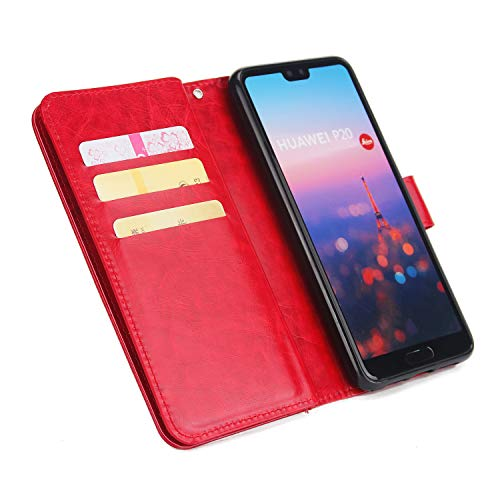 avec P20 Dragonne Classique Poche Dtachable Stand Or tui Grand Flip Cuir P20 Rouge Yobby Huawei et 9 Couches Case Housse Carte 3 pour Portefeuille Coque Slots Huawei Supporter R66PqwBzA