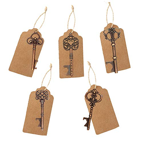 - Dzty 50 Sets Wedding Favors Mixed Antique Key Bottle Opener with Escort Tag Card, Twine and Key Rings, Vantage Style