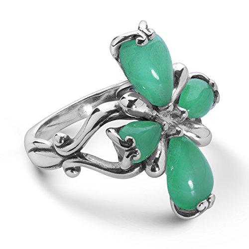 - Carolyn Pollack Sterling Silver Green Jade Gemstone Petal Cross Ring Size 7