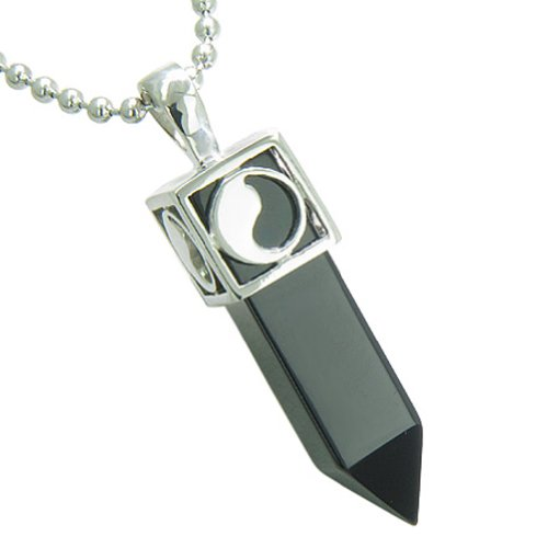 Positive Energy Yin Yang Amulet Crystal Point Lucky Charm Simulated Black Onyx 18