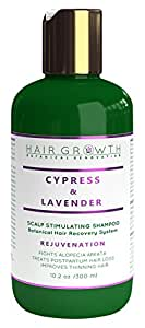 Hair Growth Botanical Renovation Cypress Natural Hair Growth Shampoo for Hair Loss and Hair Thinning Prevention, Lab Formulated Alopecia and DHT Blocking, Lavender, 10 oz.