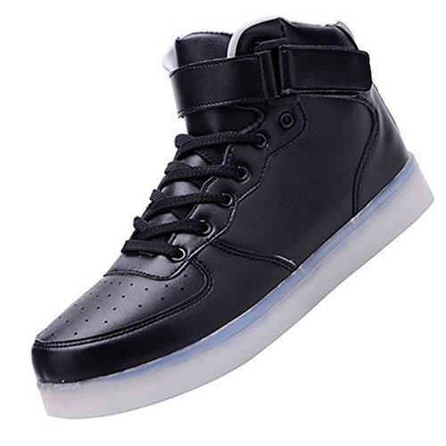 JustCreat Women Men High Top USB Charging LED Shoes Flashing Sneakers