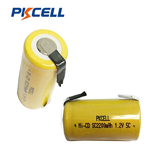 - Pkcell Sub C 2200mAh NiCd Rechargeable Battery for Power Tools (w/Tabs) (2pc)