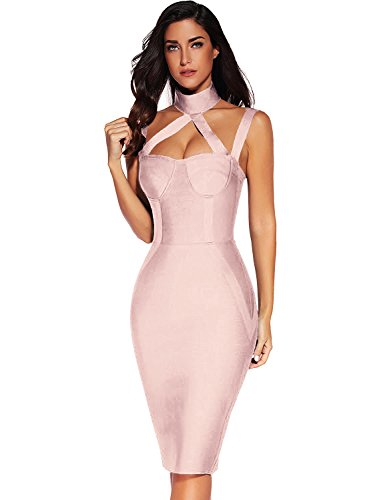 Bandage Bodycon Sleeveless Beige Dress Meilun Straless Pink Womens Dress fqRSHwTx