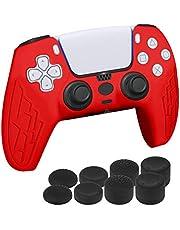 Newseego Halkfri Silikonskal för PS5 Kontroll Grepp, Mjukt Gummifodral Skydd Stöttålig och Ergonomiskt Mjukt Skyddande Fodral med 8 Svarta Tumgreppkepsar för PlayStation 5 Trådlös Kontroll-Röd