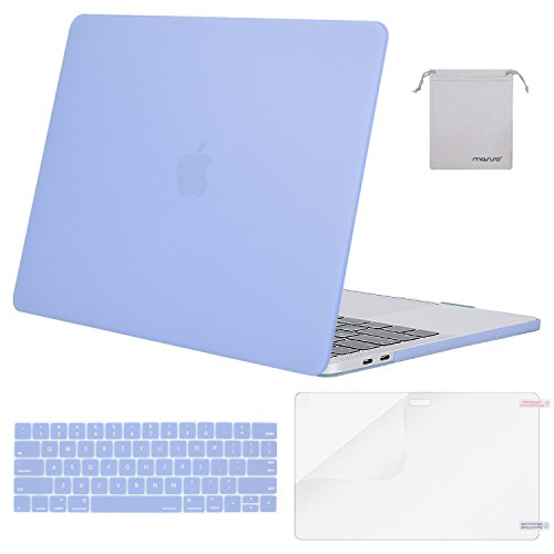 MOSISO MacBook Pro 15 Case 2018 2017 2016 Release A1990/A1707 Touch Bar Models, Plastic Hard Shell & Keyboard Cover & Screen Protector & Storage Bag Compatible Newest Mac Pro 15 Inch, Serenity Blue