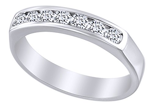 AFFY 2.4 mm White Natural Diamond Seven Stone Anniversary Band Ring in 14k White Gold Ring Size - 7.5