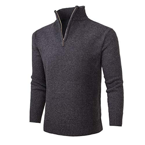 NALANION Mens Casual Wool Blend Pullover Sweaters 1/4 Zip Collar Knitted Sweater (Dark Grey, M)