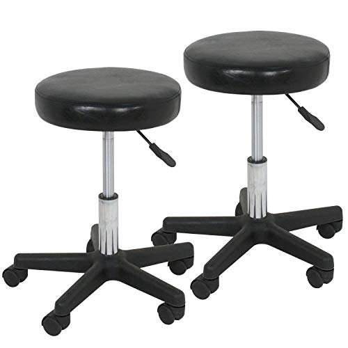 F2C Leather Adjustable Bar Stools Swivel Chairs Facial Massage Spa Salon Stool with Wheels White/Black (2PCS Black)