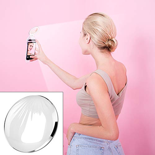 LUOFUSHENG LED Light Live Self-Timer Ring Flash Fill Light RK26S Sea Shell Design Portable Mini Makeup Mirror Beauty Selfie Light Selfie Clip Flash Fill Light Power Bank (Pink Purple) (Color : White)