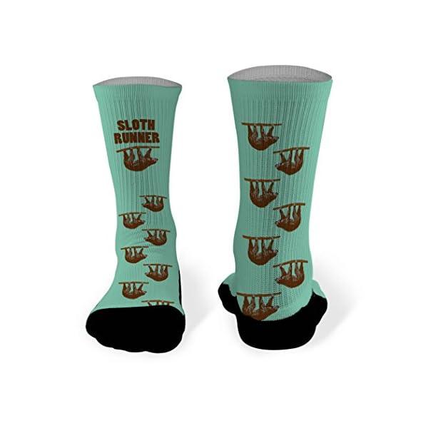 Sloth Runner Printed Mid Calf Socks | Running Socks By Gone For A Run | Multiple Sizes -