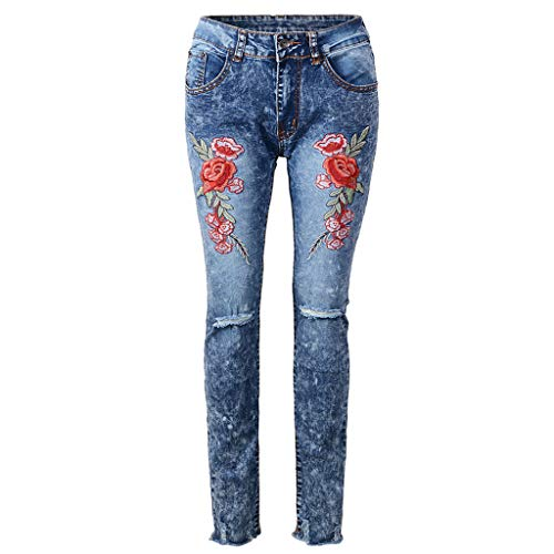 iYBUIA Embroidery Slim Fit Jeans for Women Skinny Tight Pants Stretch Leg Light Blue