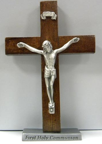Cathedral Art SWC201 First Holy Communion Standing Wood Cross with Crucifix, - First Holy Communion Crucifix