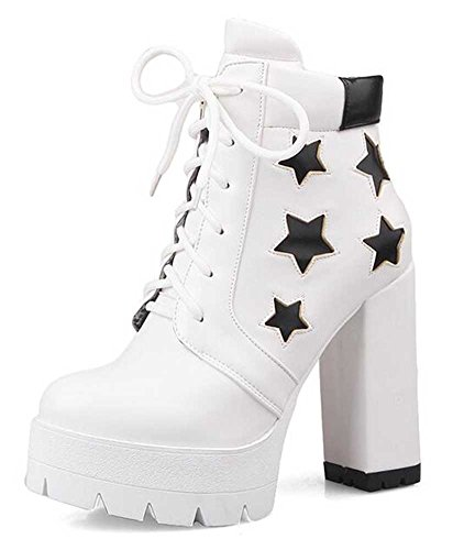 Platform Women's Toe Stylish White Up CHFSO Boots Heel Chunky Lace Solid High Ankle Star Round PCBgBnqdw