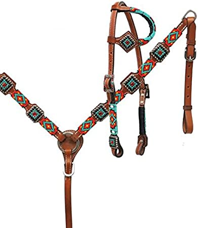 Showman Round Leather Headstall /& Breast Collar Set w// Beaded Overlay NEW TACK!