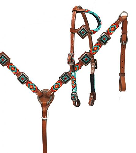 Showman Leather Headstall Breast Collar Set Red, Teal, Black Beaded Overlay ()