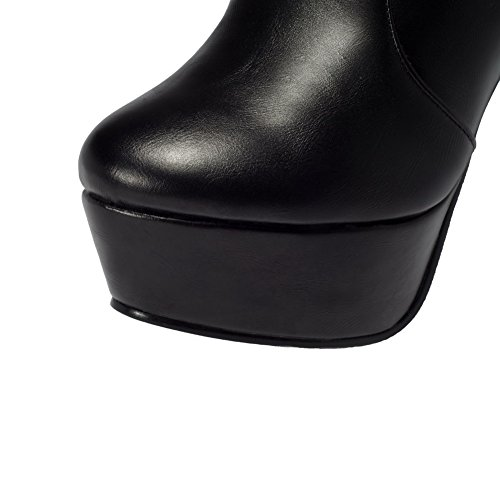 AmoonyFashion Womens Ankle High Solid Zipper Round Closed Toe High Heels Boots Black MLqhGm