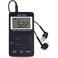 AM FM Pocket Radio,ATIVI Portable Mini Digital Tuning AM FM Stereo Radio with Rechargeable Battery LCD Display and Earphone for Walk,Black