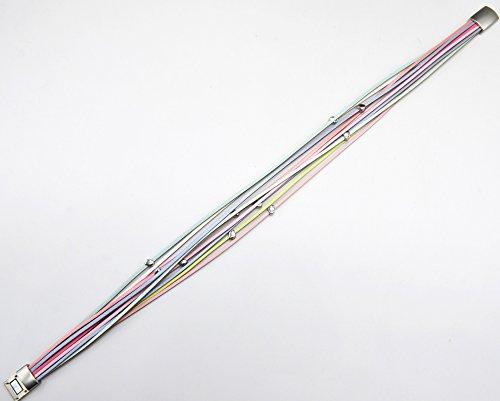 BC2184D - Bracelet Double Tour Multi-Rangs Cuir Multicolore avec Ovales Métal Argenté