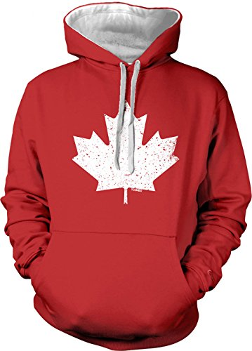 Canada Canadian Maple Leaf Men's 2 Tone Hoodie Sweatshirt (Small, RED / WHITE STRING)