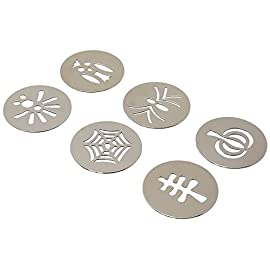 OXO Good Grips Cookie Press Disk Set 79 Set includes six Cookie Press Disks: Spider, Web, Owl, Turkey, Leaf and Pumpkin Custom disks perfect for making batches of consistent, festive cookies Stainless steel disks