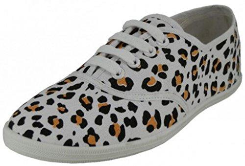 Scarpa Stringata In Tela Da Donna Easy Usa Con Suoletta Sottopiede Imbottito Leopardo-avorio