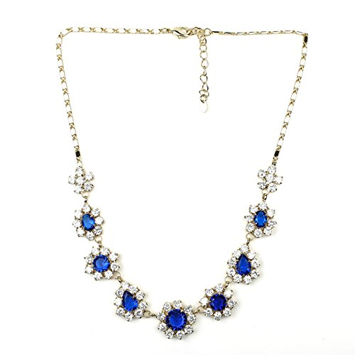 United Elegance - Magnificent Floral Inspired Faux Sapphire & Swarovski Style Crystal Necklace and Earring Set (Ring Sapphire Floral Inspired)