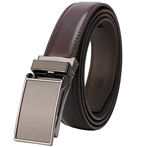 Lavemi men's Ratchet Comfort Click Slide Leather Dress Belt with Aumatic Buckle,Trim to Fit(55-0227 Brown)