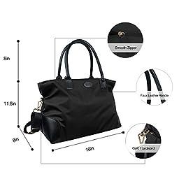 ECOSUSI Unisex Large Nylon Travel Weekend Shoulder Duffel Bag Gym Totes in Trolley Handle Black